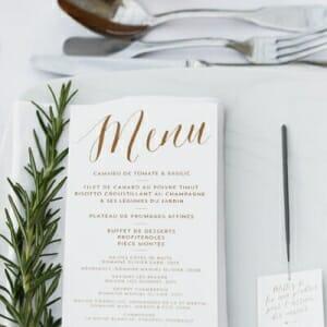 Carte de menu pour votre mariage